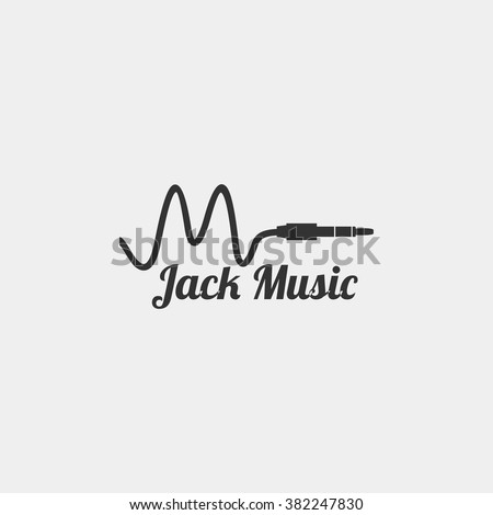 Jack and chord music logo template design vector logo. Music, for accessory, brand, identity, logotype, company. grey background