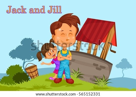 Jack and Jill, Kids English Nursery Rhymes book illustration in vector Stock photo ©