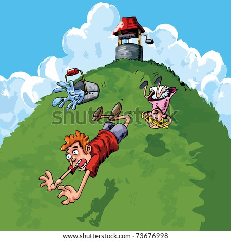 Jack and Jill went up the hill to fetch a pail of water. Jack fell down and broke his crown, and Jill came tumbling after. - stock vector