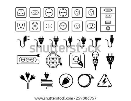 jack and plug set  vectors