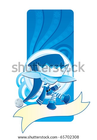 Jack Frost brings a merry white Christmas. - stock vector