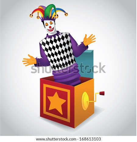 Jack in the Box. EPS 10 vector, grouped for easy editing. No open shapes or paths. Royalty free illustration perfect for childrens parties, mardi gras,  purim, carnivals, birthdays