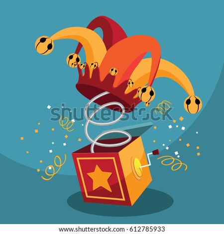 Jack in the Box with confetti, jester hat and laughing emoticon. EPS 10 vector.