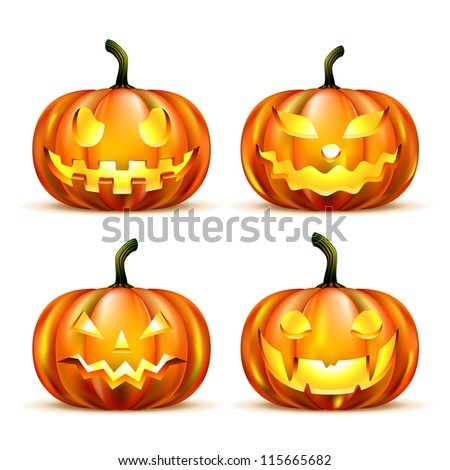 Jack Lantern Pumpkins isolated on white. Vector Illustration