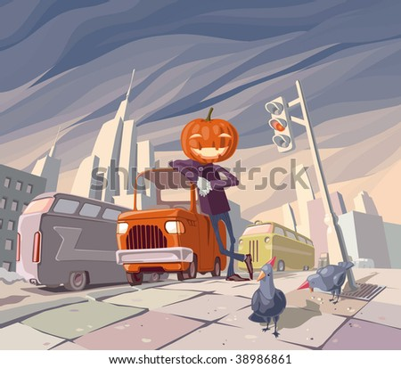 Jack O' Lantern is staying near his orange funny car in the middle of the main street in a big city. There are two pigeons wearing holiday caps near Jack.