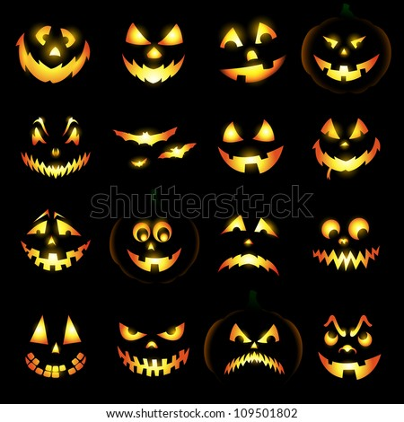 Jack O Lantern Pumpkin Faces Glowing On Black Background ...