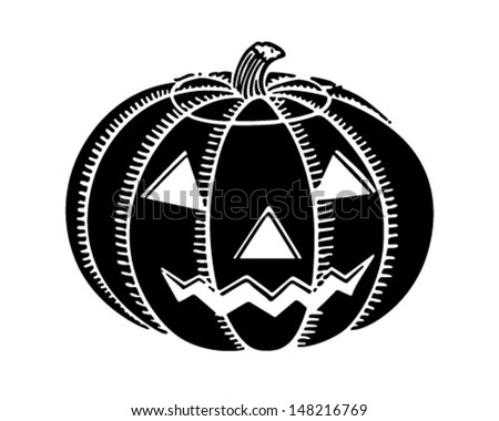 Jack O' Lantern - Retro Clip Art Illustration