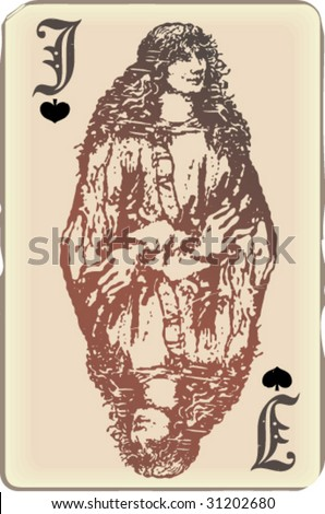 Jack of spades, ancient playing card. Look for Queen and King in my gallery