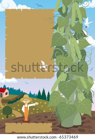 Jack, posing with the beanstalk. You can use the blank sheets to place some text, like an advertisement of fertilizer. If you don't need those sheets - just delete them in the vector file.