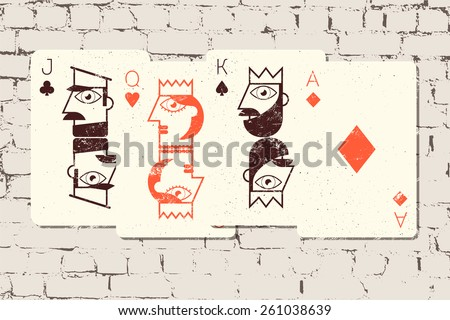 Jack, Queen, King and Ace. Stylized playing cards in grunge style on the brick wall background. Vector illustration.