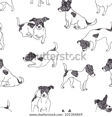 Jack Russell Terrier pattern - stock vector