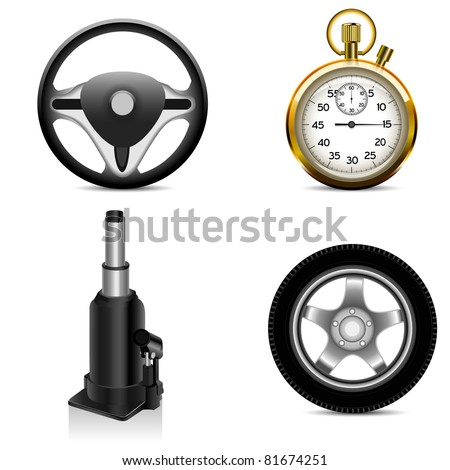 jack, steering wheel,  car wheel and stop watch