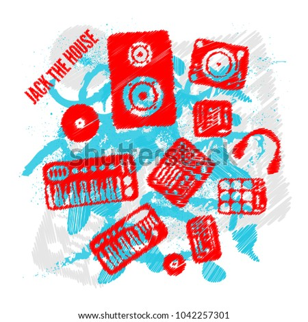 Stock Photo Jack the house, dj party artwork sketch colors
