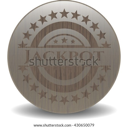 Jackpot badge with wooden background