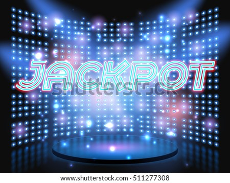 Jackpot casino neon lettering live stage on background with lightbulb glowing wall. Jackpot winner. Vector abstract background