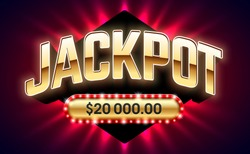 Jackpot, gambling game bright banner with winning. Casino or lottery advertising template, vector illustration