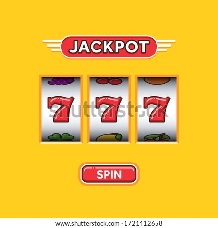 Jackpot triple seven in a yellow slot machine. Lucky seven. Casino vegas game. Slot machine game prize. Win 777 jackpot Stockfoto ©