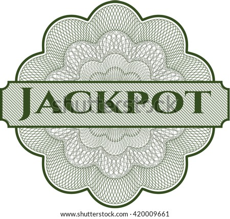 Jackpot written inside a money style rosette
