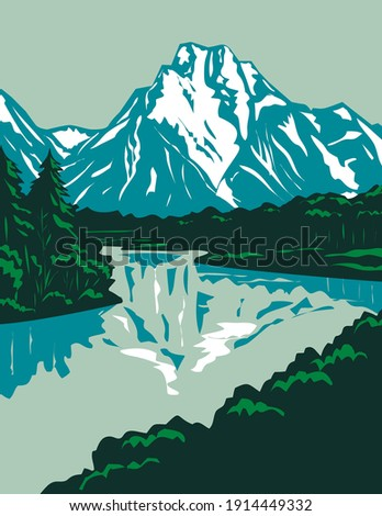 Jackson Hole Valley with the Peaks of Grand Teton National Park in Wyoming United States WPA Poster Art ストックフォト ©