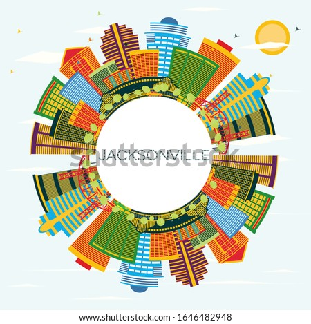 Jacksonville Florida City Skyline with Color Buildings, Blue Sky and Copy Space. Vector Illustration. Business Travel and Tourism Concept with Modern Architecture. Jacksonville Cityscape with Landmark