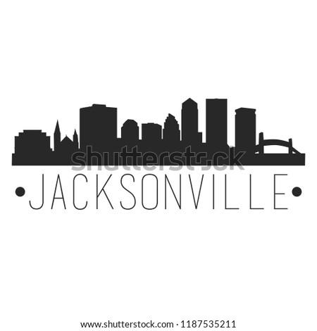 Jacksonville Florida Skyline Silhouette City Design Vector Famous Monuments