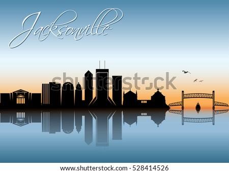 Jacksonville skyline - vector illustration