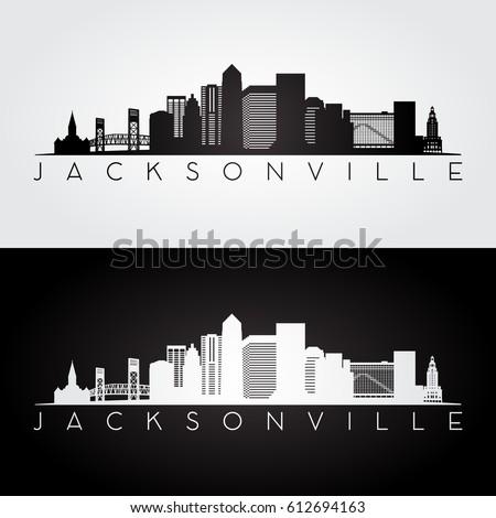 Jacksonville USA skyline and landmarks silhouette, black and white design, vector illustration.