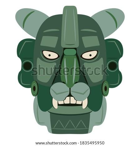 Jade mask of Zapotec Indians from Monte Alban. Pre Columbian Native American art. Head of fantastic character. Jaguar man. Stockfoto ©