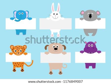 Jaguar cat, elephant, rabbit, koala, dog, hippo hanging on paper board template set. Cute cartoon funny character. Kawaii animal. Baby card. Flat design. Blue background Isolated Vector illustration