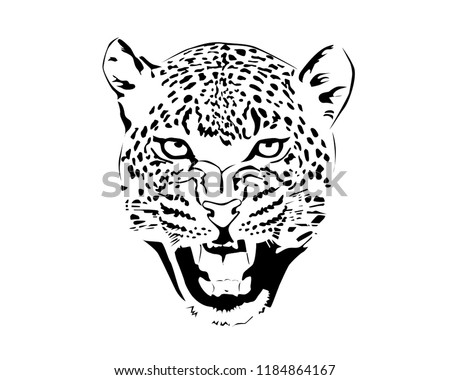 jaguar head in black and white