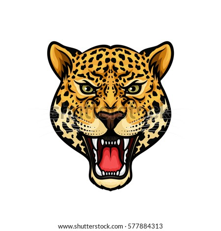 Jaguar head isolated cartoon mascot. Angry leopard or panther roaring with bared teeth and aggressive glare. Wild big cat for t-shirt print, tattoo design