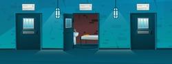 Jail corridor with empty single cells in cartoon style. Open door. Hallway prison cell interior with lattice. Cartoon vector