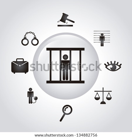 jail icons over gray background. vector illustration