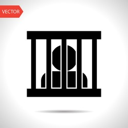 Jailed man, prison vector flat icon