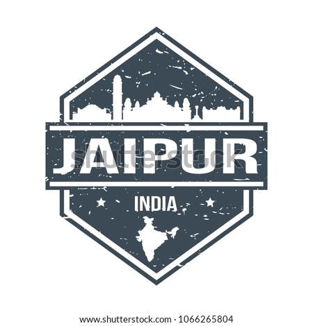 jaipur india travel stamp icon