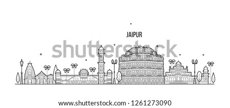 Jaipur skyline, Rajasthan, India. This illustration represents the city with its most notable buildings. Vector is fully editable, every object is holistic and movable