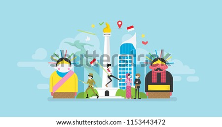 Jakarta Celebrating Indonesia Independence Day Tiny People Character Concept Vector Illustration, Suitable For Wallpaper, Banner, Background, Card, Book Illustration, And Web Landing Page - Shutterstock ID 1153443472