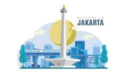 Jakarta city landmark view, the national city of Indonesia vector illustration concept