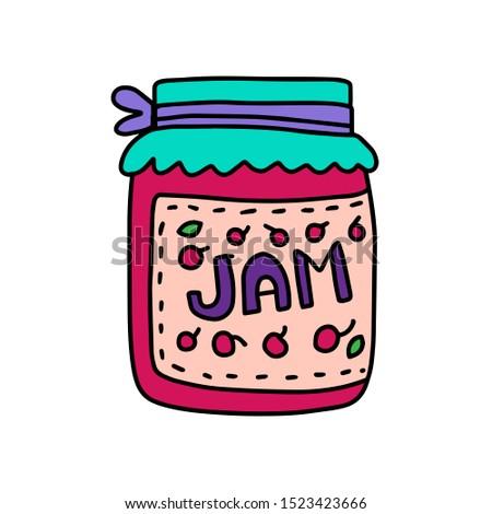 Jam cherry taste hand drawn vector illustration in cartoon comic style granny present