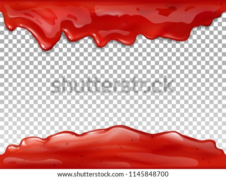 Jam flow seamless vector illustration of realistic 3D syrup splash and drops of red berry or fruit marmalade. Liquid drips on transparent background for candy or sweet dessert package design template Stock photo ©