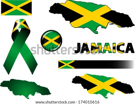 jamaica icons set of vector