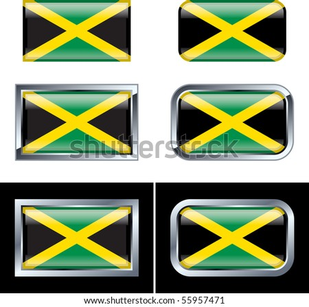 Jamaican Flag Buttons - stock vector