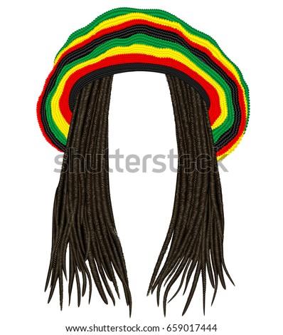 Shutterstock Jamaican rasta hat.Hair dreadlocks.reggae .funny avatar