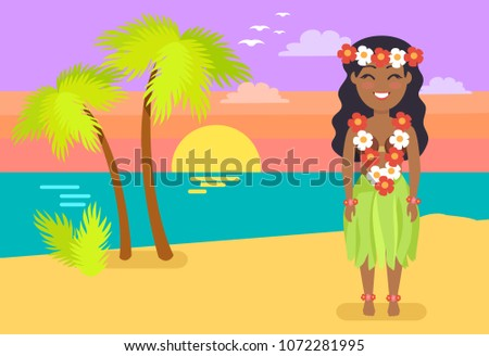 Sunset on beach graphics download free vector art stock graphics jamaican woman in national costume on sandy beach girl with flower beads female on voltagebd Choice Image