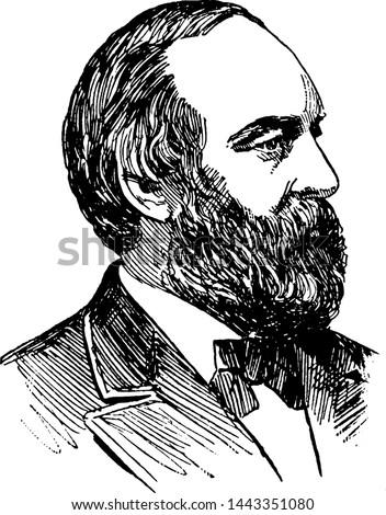 James A. Garfield, vintage illustration