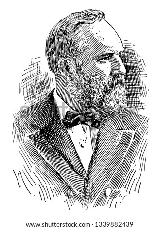 James Abram Garfield 1831 to 1881 he was the 20th president of the United States and member of the U.S. house of representatives from Ohio vintage line drawing or engraving illustration