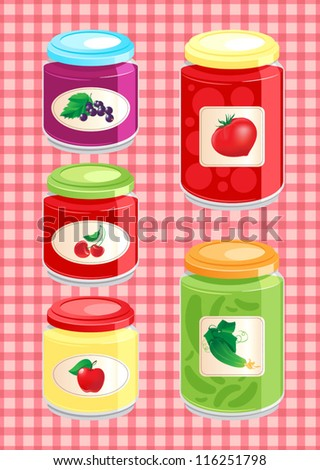 jams and pickled vegetables in glass jars on the background checkered tablecloth. vector illustration