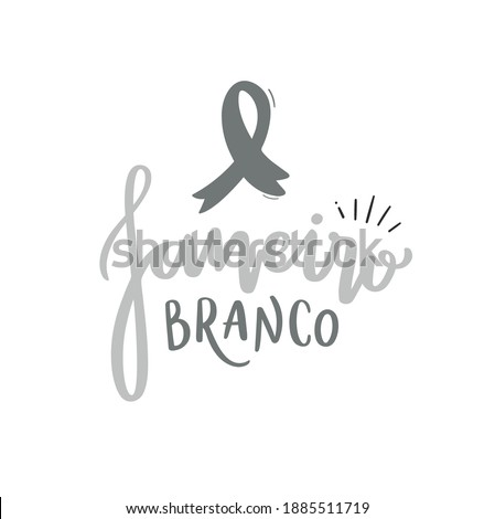 Janeiro Branco. White January. Handwritten calligraphy for the month of mental health care. Vector.