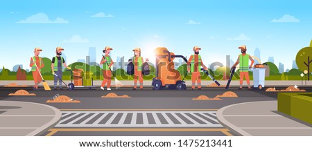 janitors team gathering trash on road cleaners using vacuum cleaner rack broom streets cleaning service concept mix race people working together cityscape sunset background full length horizontal