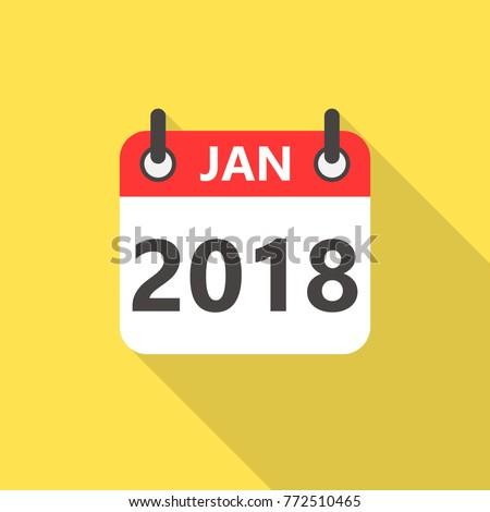 january 2018 calendar flat